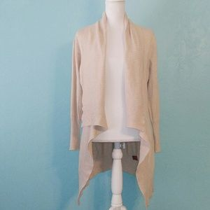 Red Open Front Tan Oversized Cardigan Large